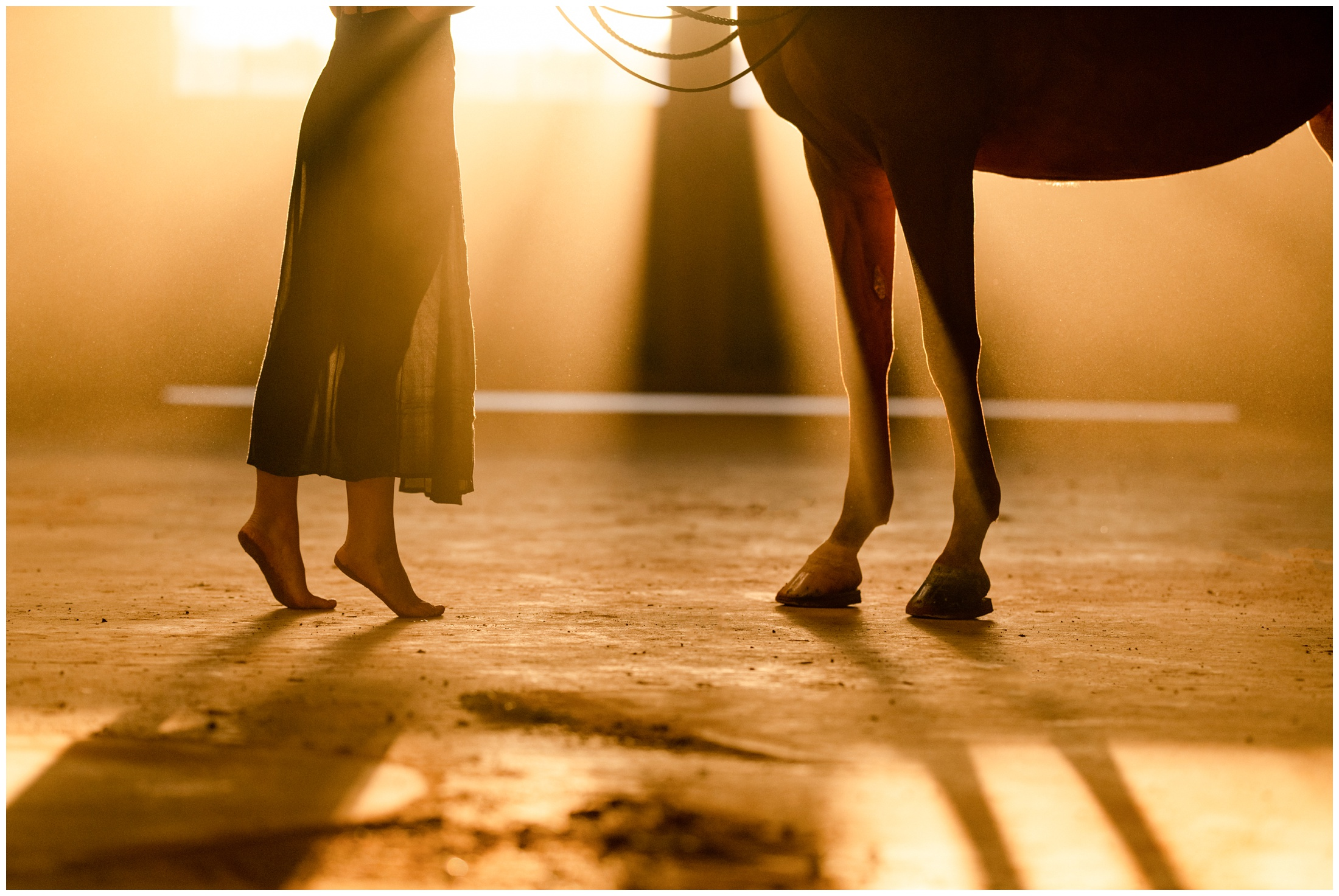 Dramatic sunset lighting showing the legs of a girl in a skirt and the horse's front feet
