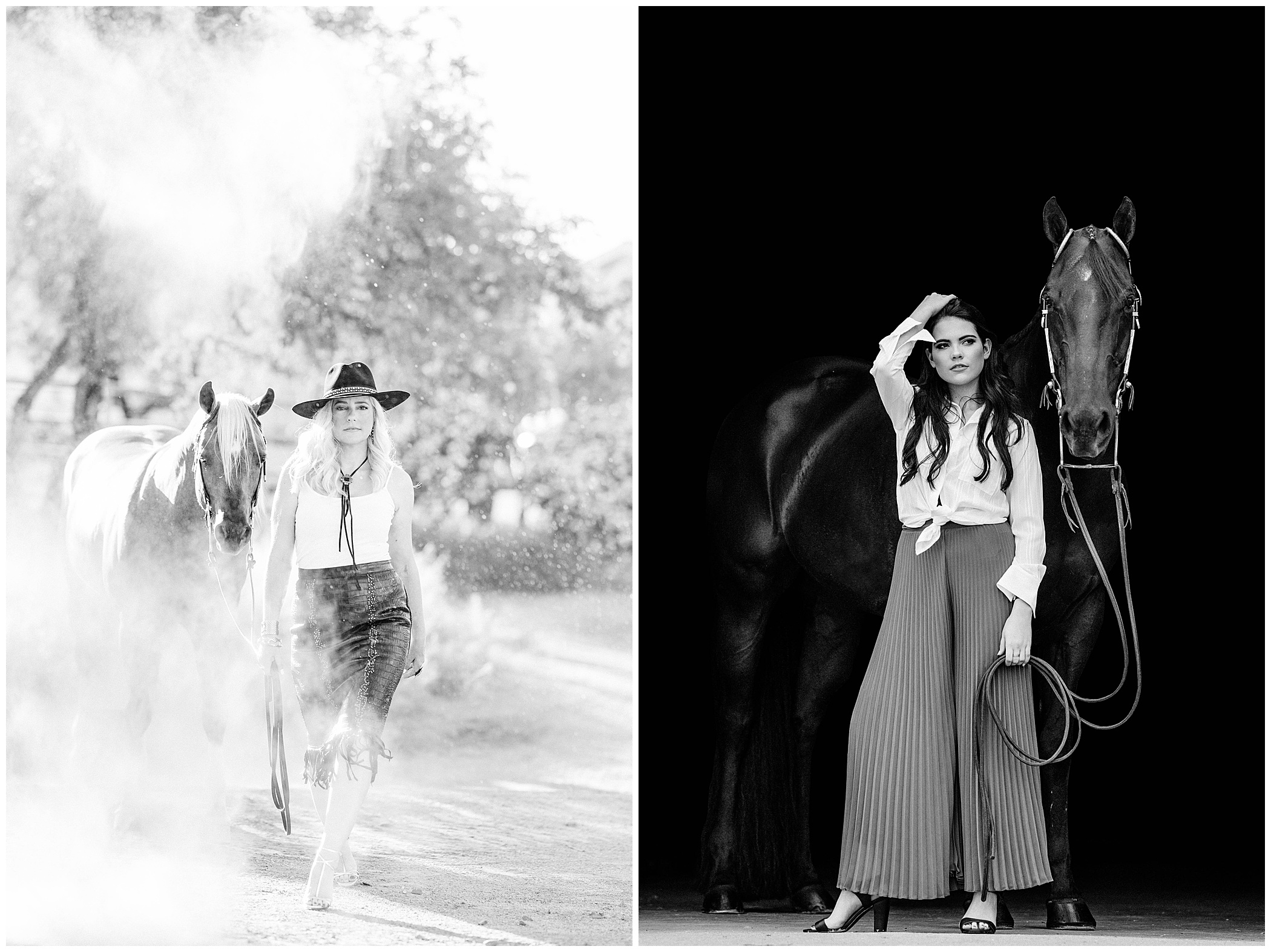 Black and white photos young girls and their horses