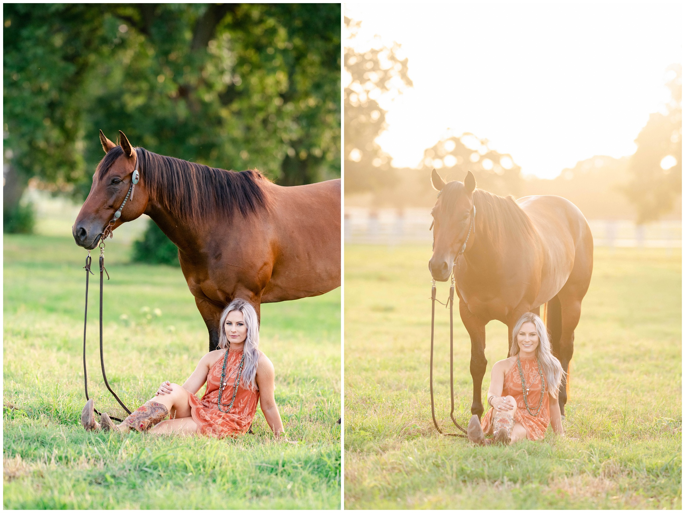 Behind the scenes shot of KMP and a young girl in a field